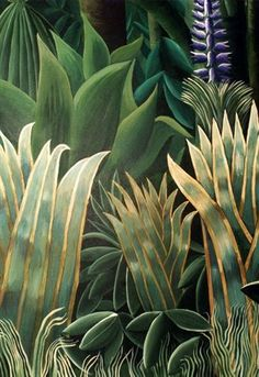 for Film 'Where the-Detail: Rousseau inspired jungle Mural; for Film 'Where the Heart Is' by Tim… Detail: Rousseau inspired jungle Mural; for Film 'Where the Heart Is' by Timna Woollard Studio - Botanical Art, Botanical Illustration, Poster Xxl, Jungle Art, Leaf Art, Natural Forms, Art Plastique, Painting Inspiration, Fresco