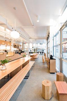 R H O N C U S Design Bar Restaurant, Bakery Design, Wood Clothing Rack, Dental Office Design, Coffee Shop Design, Restaurant Interior Design, Store Design, Decor, Shop Lights
