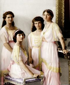 A colorized photograph of the Romanov sisters.