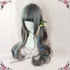 Harajuku Style Dark Grey X Smoky Blue Highlighted Lolita Curly Wig