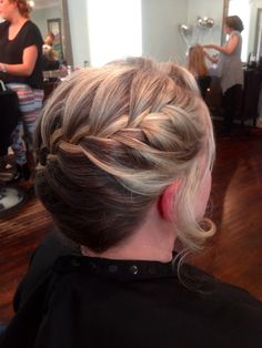 Side braid updo- wedding hair