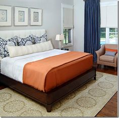 Traditional Bedroom Photos Design Ideas, Pictures, Remodel, and Decor Blue Orange Bedrooms, Navy Bedrooms, Blue Bedroom, Bedroom Colors, Modern Bedroom, Bedroom Simple, Minimalist Bedroom, Tangerine Bedroom, Colourful Bedroom