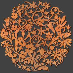 """FLOWER GARDEN Design 23"""" Diam FLORAL WALL Medallion Laser Cut Wood MADE in USA   Casa e jardim, Decoração para casa, Esculturas de parede   eBay!"""