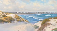 South African artist Andrew Cooper paintings are renown for their vivid colour - South African landscape paintings, Western Cape seascape paintings Andrew Cooper, South African Artists, The Dunes, Seascape Paintings, Paintings For Sale, Fine Art, Mountains, Ocean Drawing, Visual Arts