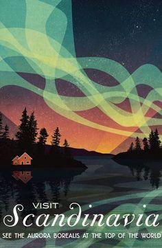 Sweden Norway Denmark Scandinavia northern lights vintage style travel poster #TravelEuropeIllustration