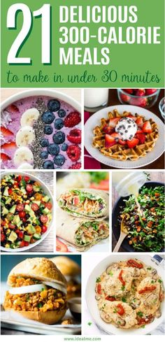 We've rounded up 21 300-Calorie Meals You Can Make In Under 30 Minutes! From chocolate chip waffles to the holy grail of lightened up alfredo, we've found fast and flavorful meals that won't sabotage your waistline.