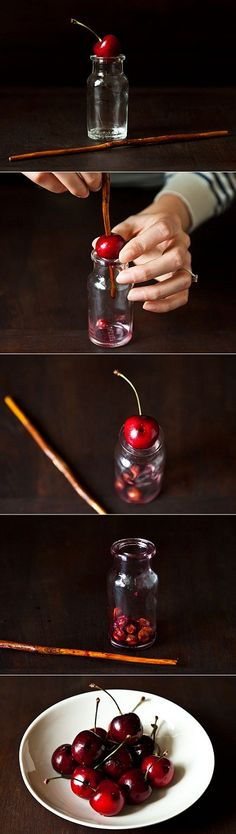Want your tots to enjoy cherries without you cutting/biting them in 1/2?  Then try this Cherry Pitting Trick!