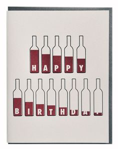 Bottle of Wine Birthday Card Wine Lovers by vandaliastreetpress