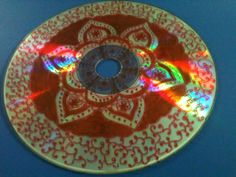 A little bit of henna -inspired doodling on a discarded CD using a permanent marker….