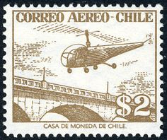 Sello: Helicopter over bright (Chile) (Air Mail) Mi:CL 510,Sn:CL C175,Yt:CL PA165