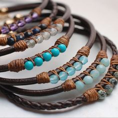 5 Perfect Gems Leath  5 Perfect Gems Leather Bracelets-Ocean Colors | Wallin & Buerkle