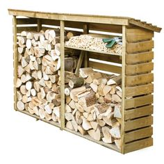Rowlinson Large Log Store x Natural finish. Made from pressure treated timber. 2 large open sections and a handy shelf for kindling.