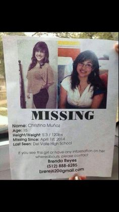 Twitter- a girl from my church and my cousin'a cousin is missing she's from del Valle high school repin please!