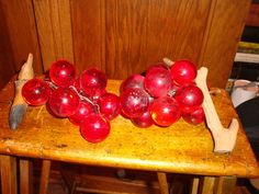 Acrylic Lucite Grape Cluster Vintage 60s Red Glass Retro Tabletop Centerpiece