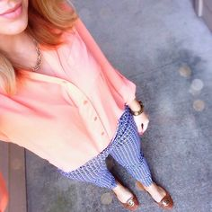 "Blue patterned pants with this coral top is a perfect ""transitioning into spring"" look!  cc: @shinerblondeandmacarons"