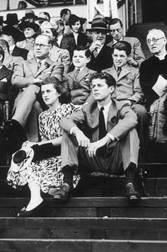 america-runs-on-kennedy:  This is the best quality of this photo I can find.  Are they watching the tennis match here I can't remember?