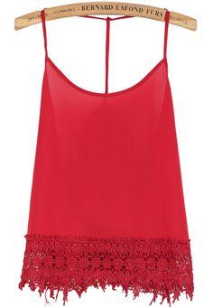 Red Spaghetti Strap Floral Crochet Chiffon Vest - Sheinside.com