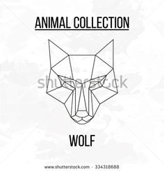 Geometric vector animal wolf head background