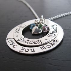 """Jocelyn """"love you more"""" personalized necklace with crystals"""