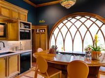 Teal Walls Design Ideas, Pictures, Remodel and Decor Layout Design, Wall Design, House Design, Design Ideas, Victorian Kitchen, Teal Walls, Dark Walls, Glass French Doors, Arched Windows