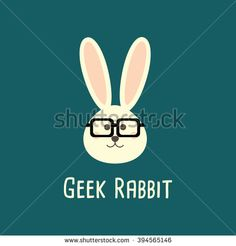 Rabbit Geek, nerd, smart, hipster - animals icons and symbols. Rabbit illustration. Rabbit  vector icons flat style. Rabbit isolated vector. Rabbit  for Easter holidays design. Rabbit with glasses. - stock vector