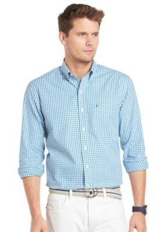Izod Button-Down Shadow Gingham Shirt Gingham Shirt, Casual Button Down Shirts, Spring Summer Fashion, Essentials, Mens Fashion, Shirt Dress, My Style, Mens Tops, Collection