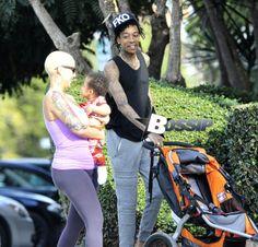 Cute Photos: Wiz Khalifa, Amber Rose And Their Son Baby Bash Takes A Stroll