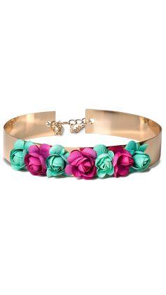 alquiler cinturón joya dorado con flores rosas y azules para invitada