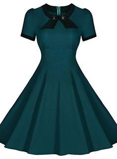 Scoop Neck Elengant Bow Vintage Casual Evening Dress