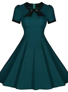 Scoop Neck Elengant Bow Vintage Casual Evening Dress