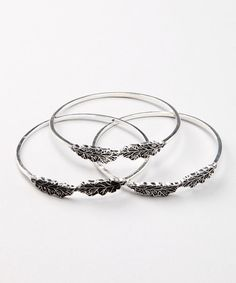 Take a look at this Silver Leaf Bangle Set by ZAD on #zulily today!