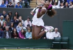 Serena Williams of the U.S. celebrates after defeating Yaroslava Shvedova of Kazakhstan during their women's singles tennis match at the Wimbledon tennis championships in London. (Reuters)