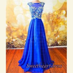 2016 cute royal blue chiffon prom dress with beautiful rhinstones on the top…