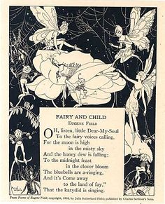 A 1930s black and white Fairy and Child illustration print from a recycled childs story book with poem by Eugene Field, illustration by Mariel Wilhoite .
