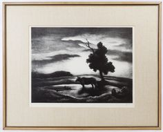"""Lot 294: Thomas Hart Benton (American, 1889-1975) """"Sunset"""" Lithograph; Undated, pencil signed lower right, depicting a cow standing by a tree"""