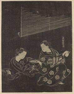 Woman pouring sake for another woman (Stone print) Artist: Okumura Masanobu