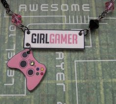 Pink GIRL GAMER Logo and Xbox 360 Controller Bead and Chain Charm Necklace