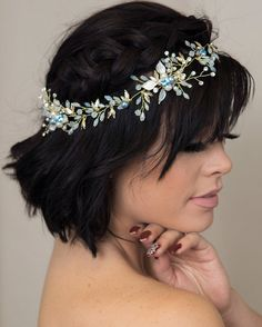 Blue Gold Hair Comb Opal Hair Vine Wedding Hair Accessories Something Blue  for Brides Floral Pearl Hair Comb Gold Tiara Gold Wedding Crown 70b5bf6fade4
