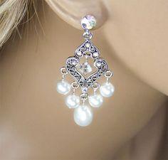 Bridal Earrings, White Swarovski Pearl Crystal Vintage Inspired