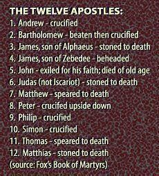 The Twelve Apostles Tradition says...