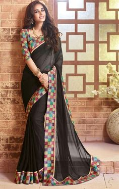 Beautiful Black Latest Saree with Fashionable Blouse