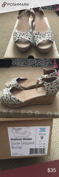 Tons Platform Wedge Toms size 9 platform wedge snow leopard burlap size 9 TOMS Shoes Wedges