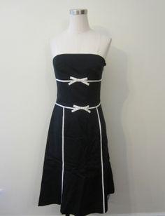 ANN TAYLOR BLACK AND WHITE BOW DETAIL STRAPLESS SUN DRESS $99.99