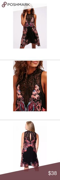 "Free People 'Marsha' Printed Dress Black/Lace Free People 'Marsha' Printed Dress Black/Lace Floral ~Size S~  High end department store customer return.  Nice! Gently worn  Black, floral print Lace detail Keyhole/button back  Size S  Measures approximately: total length 33""- measured down center front  bust across 17""   PRICED TO SELL FAST! PLEASE ASK ANY QUESTIONS BEFORE PURCHASE, THANKS CHECK OUT MY OTHER DESIGNER HANDBAGS AND CLOTHING! Free People Dresses Mini"