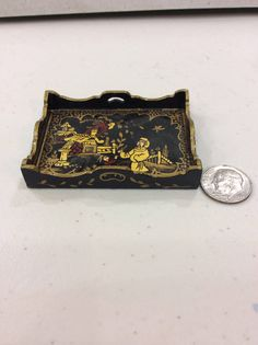 Artisan Dollhouse Miniature Black Laquer Chinese Serving Tray Judith Dunger