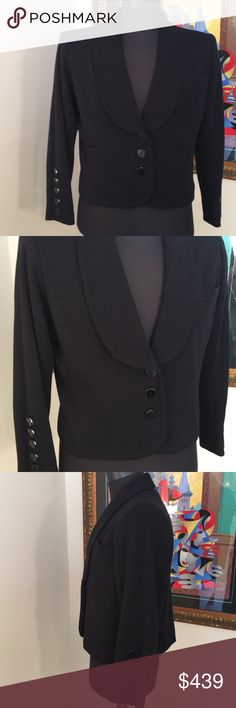 ⭐️SAINT LAURENT LOVELY SOFT JACKET 💯AUTHENTIC SAINT LAURENT LOVELY SOFT JACKET 100 AUTHENTIC! TRUE SUPER HIGH END LUXURY AND STYLE! THE COLOR IS BLACK WITH BEAUTIFUL BLACK BUTTONS. PURCHASED BY MY SISTER IN PARIS. IT IS A FRENCH SIZE 40 WHICH CONVERTS TO AN AMERICAN 8 . THE BUST MEASURES 21 INCHES ACROSS AND 42 AROUND. THE LENGTH IS 22 INCHES.IT IS A SOFT FABRIC JACKET. FABRICATION TAG WAS REMOVED. COUPLE TINY SLEEVE PULS THAT WERE PROFESSIONALLY REPAIRED. THIS IS SUCH A BEAUTIFUL…
