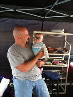 Altah helping daddy at a show!