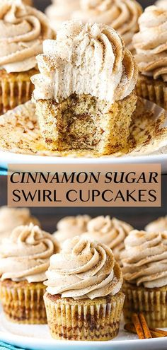 These Cinnamon Sugar Swirl Cupcakes are a dream of mine come true! There's cinnamon in the cupcake batter and layers of cinnamon sugar in the cupcake. Then, they're topped with cinnamon frosting and sprinkled with a little more cinnamon sugar. Irresistible! Homemade Cupcake Recipes, Fun Baking Recipes, Sweet Recipes, Dessert Recipes, Cupcake Recipe Easy, Baking Recipes Cupcakes, Cinnamon Roll Cupcakes, Swirl Cupcakes, Cupcake Cakes