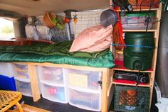 At a get-together of members of the yahoo group vandwellers, I built this bed/shelf unit for a member named Katie. It turned out so well, I am going to give you directions here on how to replicate it. This basic … Converting an Astro Mini-Van Read Minivan Camping, Truck Camping, Camping Hacks, Pickup Camping, Camping Gear, Cheap Rv Living, Minivan Camper Conversion, Conversion Van, Sprinter Conversion