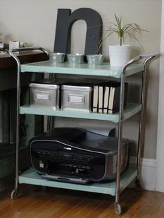 25 Awesomely Creative Ways To Use A Bar Cart – Home Office Design Vintage Printer Storage, Printer Cart, Printer Station, Printer Stand, Armoire, Metal Cart, Office Printers, Gold Bar Cart, Bar Cart Decor